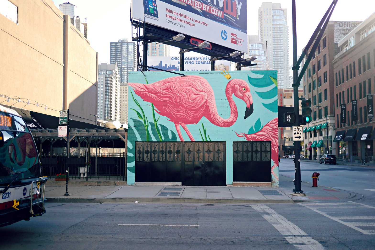 Bright flamingo mural on a Chicago club