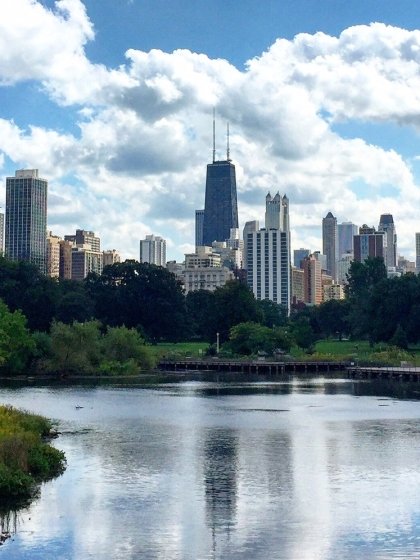 View of downtown Chicago skyline from Lincoln Park
